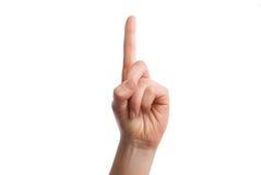 Το απομονωμένο χέρι παρουσιάζει στον αριθμό ενός Έννοια προσοχής παρακαλώ Στοκ Φωτογραφίες