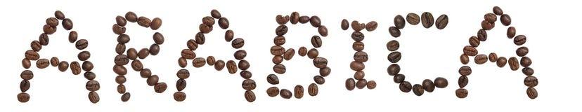 Το απομονωμένο Word «ARABICA» κάνει από το φασόλι καφέ Στοκ εικόνες με δικαίωμα ελεύθερης χρήσης