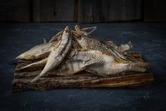 Το αποξηραμένο ψάρι βρίσκεται στη σκοτεινή επιφάνεια πετρών Στοκ Εικόνα