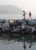 το απόγευμα κολυμπά αργά Στοκ Εικόνες