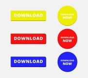 Το απλοί ορθογώνιο και ο κύκλος μεταφορτώνουν τα κουμπιά Στοκ Εικόνες