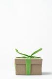 Το απλό καφετί κιβώτιο δώρων εταιρίαξε με την πράσινη Raffia κορδέλλα Στοκ φωτογραφία με δικαίωμα ελεύθερης χρήσης
