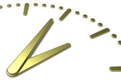 Το απλό πρόσωπο ρολογιών με το κίτρινο μέταλλο δίνει και χαρακτηρίζει το διαγώνιο vie Στοκ φωτογραφία με δικαίωμα ελεύθερης χρήσης