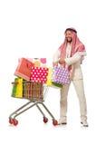 Το αραβικό άτομο που κάνει τις αγορές που απομονώνονται στο λευκό Στοκ φωτογραφία με δικαίωμα ελεύθερης χρήσης