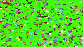 Το αργά μειωμένο κομφετί σε ένα πράσινο υπόβαθρο, άνευ ραφής περιτυλίχτηκε ζωτικότητα απόθεμα βίντεο
