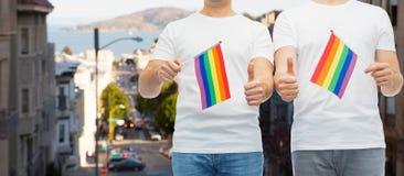Το αρσενικό ζεύγος με την ομοφυλοφιλική παρουσίαση σημαιών υπερηφάνειας φυλλομετρεί επάνω Στοκ εικόνα με δικαίωμα ελεύθερης χρήσης