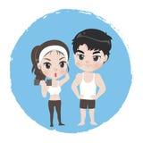 Το αρσενικό και το θηλυκό είναι καλά υγιή αθλητών ελεύθερη απεικόνιση δικαιώματος