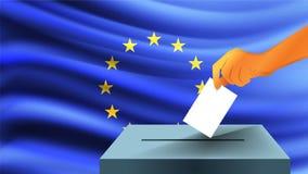 Το αρσενικό χέρι καταγράφει ένα άσπρο φύλλο του εγγράφου με ένα σημάδι ως σύμβολο ενός ψηφοδελτίου στα πλαίσια της σημαίας της ΕΕ διανυσματική απεικόνιση
