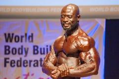 Το αρσενικό bodybuilder λυγίζει τους μυς του και παρουσιάζει καλύτερη διάπλασή του Στοκ εικόνες με δικαίωμα ελεύθερης χρήσης