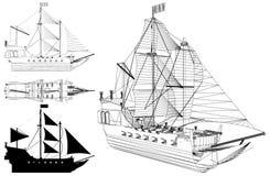 Το αρχαίο διάνυσμα απεικόνισης θωρηκτών Στοκ Εικόνα