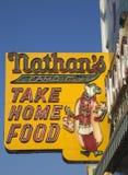 Το αρχικό σημάδι εστιατορίων του Nathan Στοκ Εικόνες