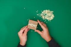 Το αρχικό σχέδιο ενός δώρου Χριστουγέννων του εγγράφου τεχνών, σκωτσέζικος και του κομφετί των χρυσών αστεριών σε ένα πράσινο υπό στοκ εικόνες με δικαίωμα ελεύθερης χρήσης