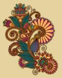 Το αρχικό χέρι σύρει το περίκομψο σχέδιο λουλουδιών τέχνης γραμμών Στοκ Εικόνες