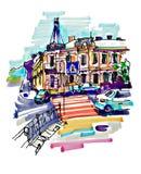 Το αρχικό χέρι σύρει το σκίτσο δεικτών του τοπίου οικοδόμησης Kyiv απεικόνιση αποθεμάτων