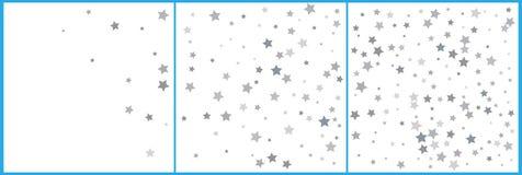 Το ασήμι ακτινοβολεί μειωμένα αστέρια Ασημένιο αστέρι σπινθηρίσματος στο άσπρο υπόβαθρο Διανυσματικό πρότυπο για το νέο έτος, Χρι διανυσματική απεικόνιση