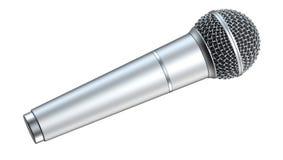 Το ασημένιο μικρόφωνο, που απομονώνεται στο άσπρο υπόβαθρο, τρισδιάστατο δίνει Στοκ φωτογραφία με δικαίωμα ελεύθερης χρήσης