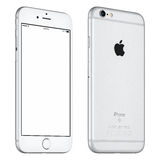 Το ασημένιο πρότυπο iPhone της Apple 6S περιστράφηκε ελαφρώς την μπροστινή άποψη Στοκ Εικόνα