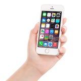 Το ασημένιο iPhone της Apple 5S που επιδεικνύει iOS 8 στο θηλυκό χέρι, σχεδίασε Στοκ Φωτογραφίες