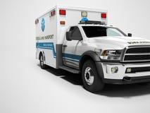 Το ασθενοφόρο με τις μπλε εμφάσεις τρισδιάστατες δίνει στο γκρίζο υπόβαθρο με τη σκιά ελεύθερη απεικόνιση δικαιώματος