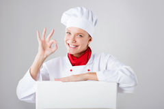 το ασιατικό ανασκόπησης αρτοποιών αστείο απομονωμένο κοίταγμα έκφρασης μαγείρων αρχιμαγείρων πινάκων διαφημίσεων καυκάσιο πέρα απ Στοκ Φωτογραφίες