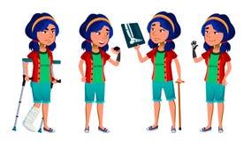 Το ασιατικό παιδί κοριτσιών θέτει το διάνυσμα Παιδί σχολείου disabled Πρόσθεση ακρωτηριασμών Χαμόγελο, δραστηριότητα, όμορφη για  διανυσματική απεικόνιση