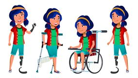 Το ασιατικό παιδί κοριτσιών θέτει το καθορισμένο διάνυσμα Παιδί γυμνασίου disabled wheelchair Πρόσθεση ακρωτηριασμών Για το έμβλη απεικόνιση αποθεμάτων