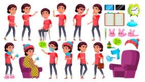 Το ασιατικό παιδί κοριτσιών θέτει το καθορισμένο διάνυσμα Παιδί σχολείου Άρρωστοι, βήχας Μύτη Runy υγεία Για την παρουσίαση, τυπω ελεύθερη απεικόνιση δικαιώματος