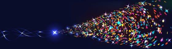 Το αστέρι φέρνει το ζωηρόχρωμο φωτεινό έμβλημα διανυσματική απεικόνιση