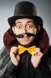 Το αστείο άτομο μάγων που φορά tophat Στοκ Εικόνες