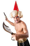 Το αστείο άτομο με το μαχαίρι που απομονώνεται στο λευκό Στοκ φωτογραφία με δικαίωμα ελεύθερης χρήσης