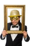 Το αστείο άτομο με το πλαίσιο εικόνων στο λευκό Στοκ φωτογραφίες με δικαίωμα ελεύθερης χρήσης