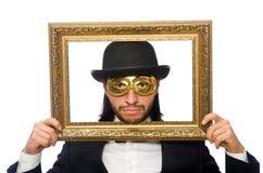 Το αστείο άτομο με το πλαίσιο εικόνων στο λευκό Στοκ εικόνες με δικαίωμα ελεύθερης χρήσης