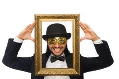 Το αστείο άτομο με το πλαίσιο εικόνων στο λευκό Στοκ Εικόνα