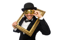 Το αστείο άτομο με το πλαίσιο εικόνων στο λευκό Στοκ φωτογραφία με δικαίωμα ελεύθερης χρήσης