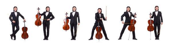 Το αστείο άτομο με το όργανο μουσικής στο λευκό στοκ φωτογραφία με δικαίωμα ελεύθερης χρήσης