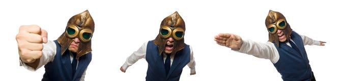 Το αστείο άτομο που φορά το πειραματικά κράνος και τα προστατευτικά δίοπτρα στοκ φωτογραφία