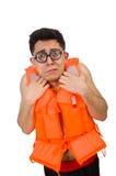 Το αστείο άτομο που φορά την πορτοκαλιά φανέλλα ασφάλειας Στοκ Εικόνα