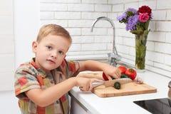 Το αστείο αγόρι παιδιών θέτει τον πίνακα για το γεύμα λίγος αρχιμάγειρας κόβει τα λαχανικά Στοκ Φωτογραφίες