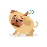 Το αστείο γρατσούνισμα χαρακτήρα σκυλιών μαλαγμένου πηλού φαγουρίζει τη διανυσματική απεικόνιση Στοκ εικόνα με δικαίωμα ελεύθερης χρήσης