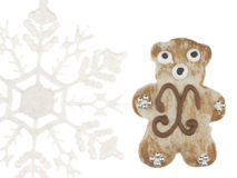 Το αστείο μελόψωμο αντέχει και snowflake Στοκ εικόνα με δικαίωμα ελεύθερης χρήσης