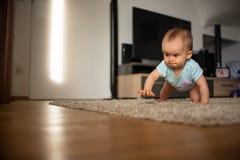 Το αστείο μωρό πηγαίνει κάτω σε όλα τα fours στο σπίτι στοκ φωτογραφίες
