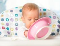 Το αστείο μωρό τρώει από το ρόδινο πιάτο Στοκ εικόνα με δικαίωμα ελεύθερης χρήσης