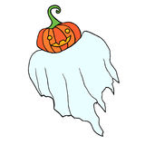 Το αστείο πετώντας φάντασμα με μια κολοκύθα αντί ενός κεφαλιού, είναι απομονωμένο Απεικόνιση αποθεμάτων