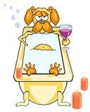 Το αστείο σκυλί κινούμενων σχεδίων παίρνει ένα λουτρό από το φως ιστιοφόρου και ένα ποτήρι του κρασιού στοκ εικόνες