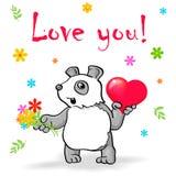 Το αστείο panda με την καρδιά λέει την αγάπη εσείς! Στοκ φωτογραφία με δικαίωμα ελεύθερης χρήσης