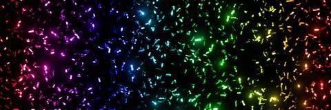 Το αστράφτοντας μεταλλικό κομφετί ακτινοβολεί λωρίδες στα χρώματα ουράνιων τόξων - μπροστά από ένα μαύρο σχήμα εμβλημάτων υποβάθρ Στοκ φωτογραφία με δικαίωμα ελεύθερης χρήσης