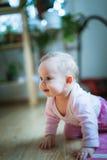 Το λατρευτό κοριτσάκι σέρνεται σε όλο το πάτωμα fours στοκ εικόνα με δικαίωμα ελεύθερης χρήσης