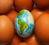 Το αυγό αντιπροσωπεύει τον όμορφο πλανήτη στοκ εικόνα με δικαίωμα ελεύθερης χρήσης