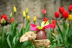 Το αυγό Πάσχας σοκολάτας με τη ρόδινη κορδέλλα καλλιεργεί την άνοιξη Στοκ φωτογραφία με δικαίωμα ελεύθερης χρήσης