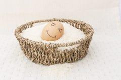 Το αυγό σε ένα καφετί καλάθι στο ρύζι Στοκ Εικόνες